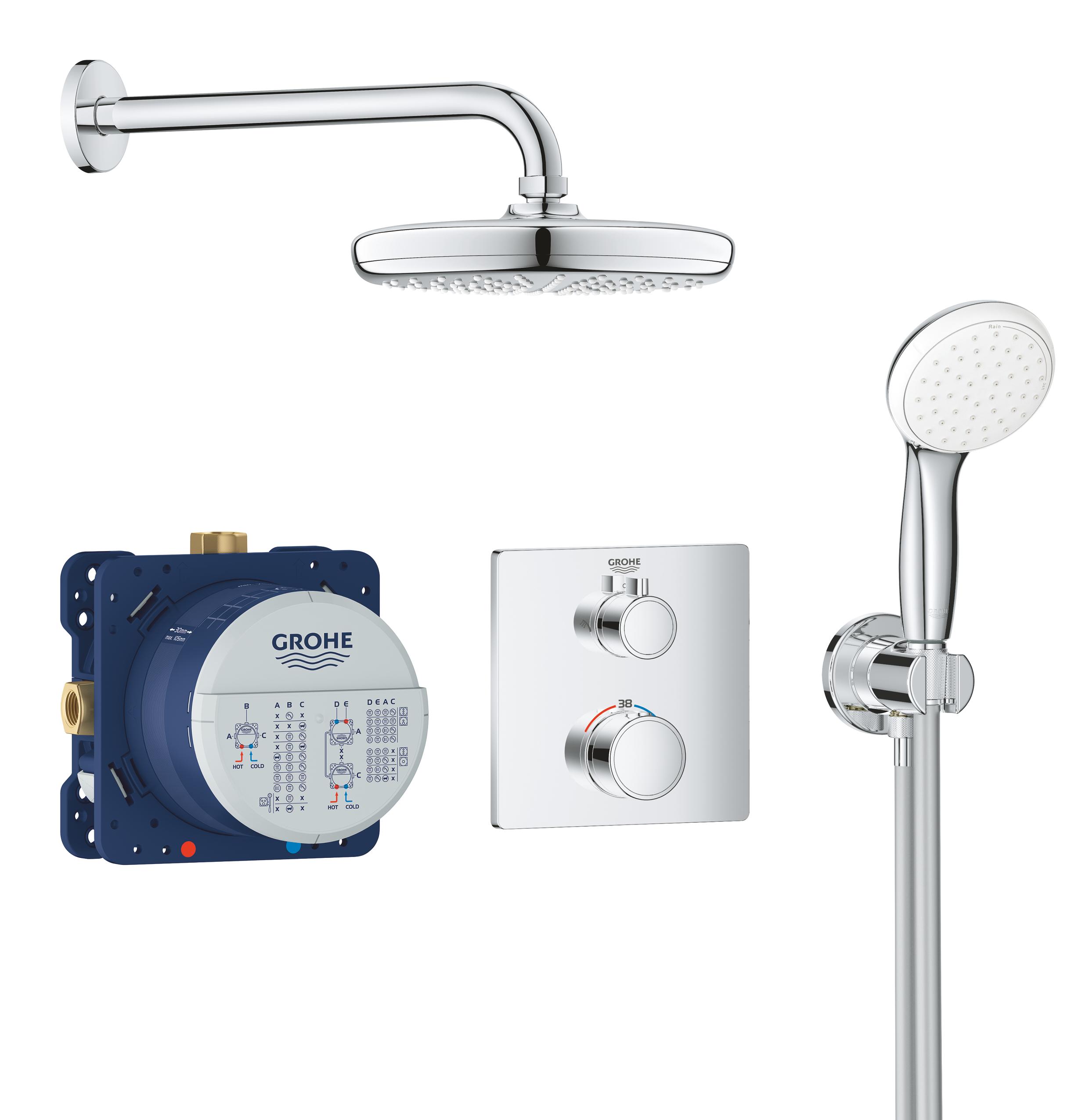 Набор для комплектации душа GROHE Grohtherm: встраиваемый термостат с переключателем верхний-ручной душ, квадратная розетка, верхний душ Tempesta 210 с кронштейном, ручной душ с подключением и шлангом, хром (34729000)