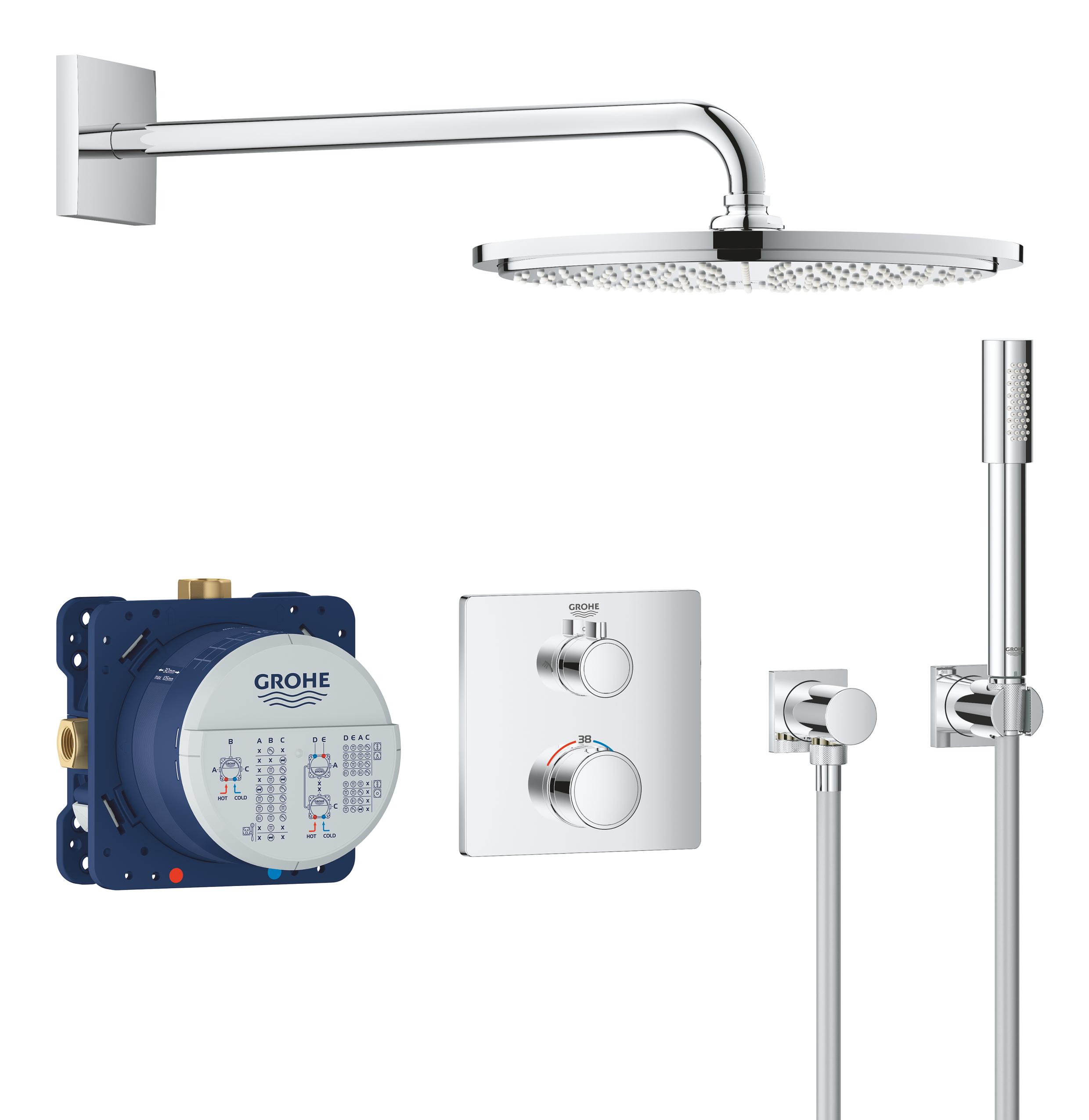 Набор для комплектации душа GROHE Grohtherm: встраиваемый термостат с переключателем верхний-ручной душ, квадратная розетка, верхний душ RSH Cosmo 310 с кронштейном, ручной душ Sena с подключением и шлангом, хром (34730000)