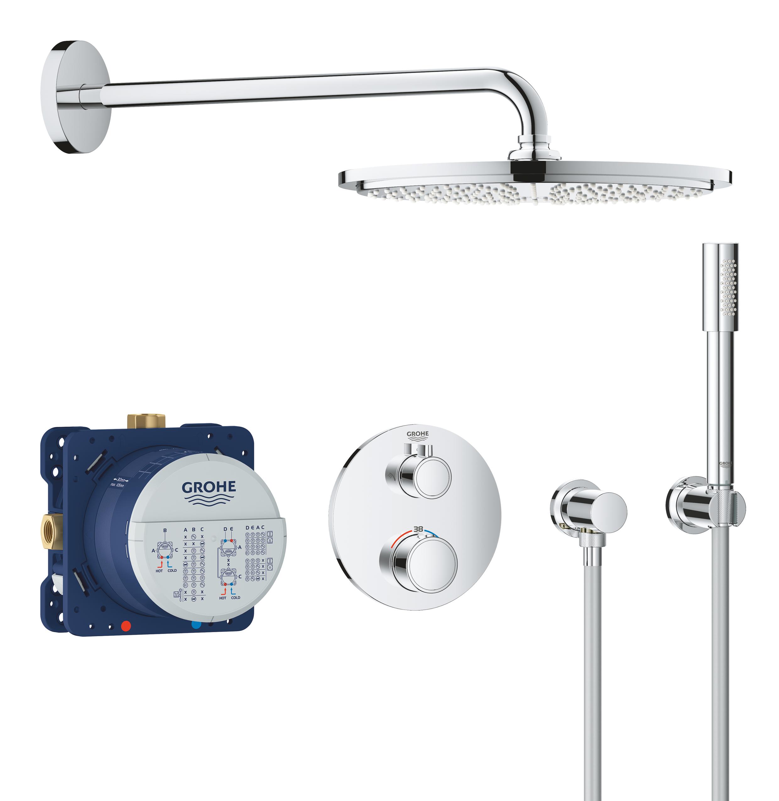 Набор для комплектации душа GROHE Grohtherm: встраиваемый термостат с переключателем верхний-ручной душ, круглая розетка, верхний душ RSH Cosmo 310 с кронштейном, ручной душ Sena с подключением и шлангом, хром (34731000)