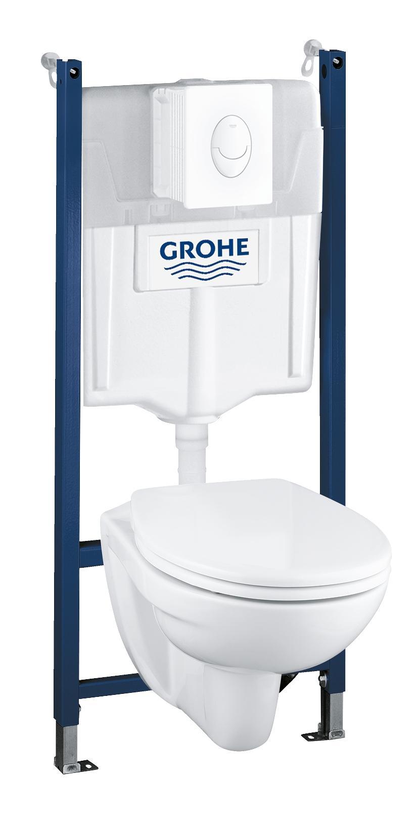 Набор GROHE Solido: подвесной унитаз + система инсталляции с белой панелью смыва Skate Air (39116000)
