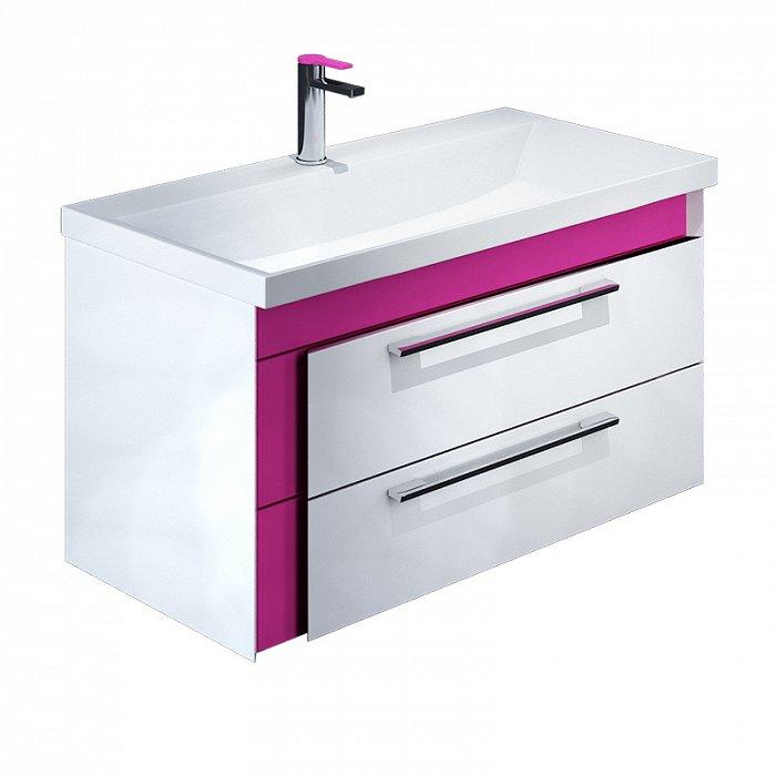 Тумба с раковиной IDDIS Color Plus 90 подвесная белая/розовая