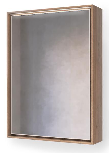 Зеркало-шкаф RAVAL Frame 75 Дуб трюфель с подсветкой, розеткой