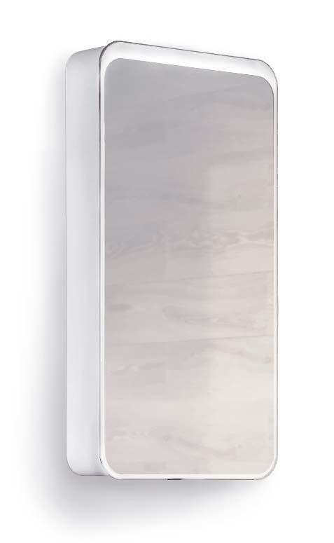 Зеркало-шкаф RAVAL Pure 46 Белый с подсветкой универсальный