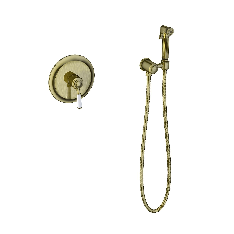 Смеситель встроенный с гигиеническим душем Timo Arisa 5309/02SM антик