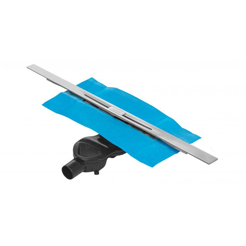 Желоб BERGES водосток SIMPEL 800, матовый хром, S-сифон D50 H60 боковой 090112