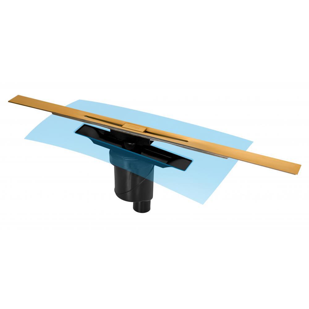 Желоб BERGES водосток SIMPEL 800, золото глянец, S-сифон D50/105 H50 вертикальный