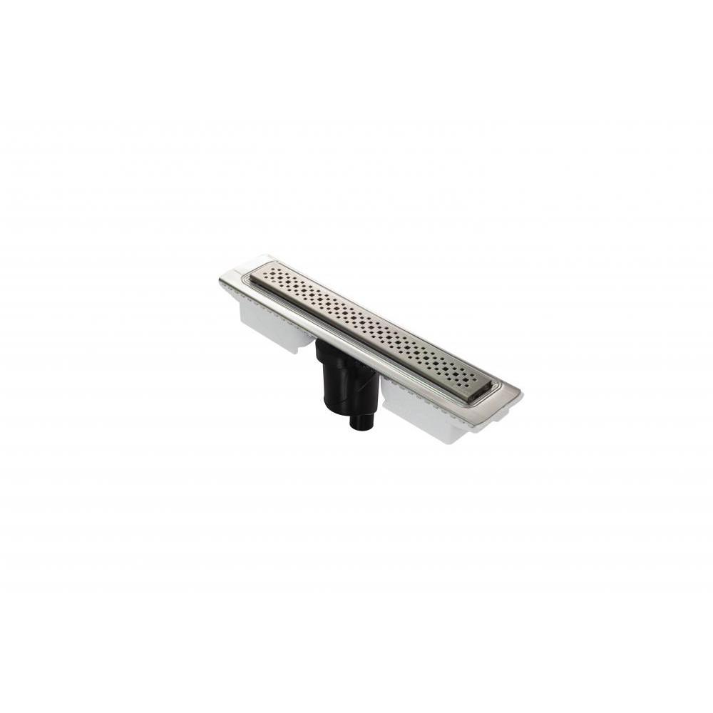 Желоб BERGES водосток C1 Brise 400, матовый хром, S-сифон D50/105 H50 вертикальный