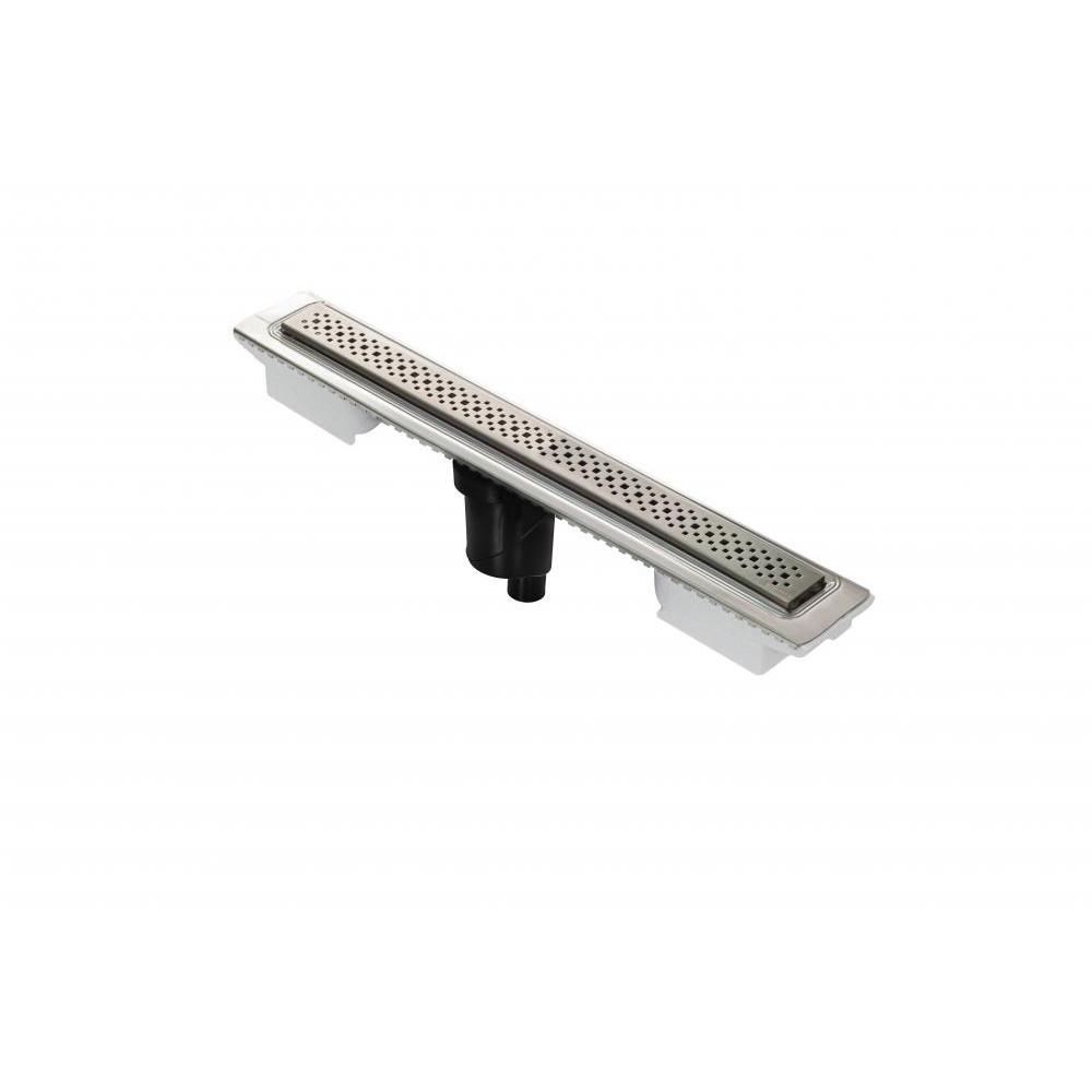 Желоб BERGES водосток C1 Brise 600, матовый хром, S-сифон D50/105 H50 вертикальный