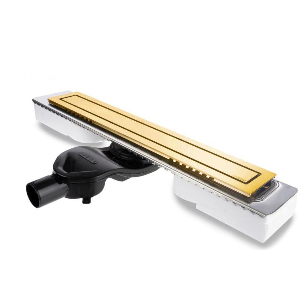 Желоб BERGES водосток TOP Stark 600, золото глянец, S-сифон D50 H60 боковой