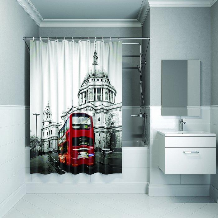 Штора для ванной комнаты IDDIS London Spirits 180*200 см полиэстер