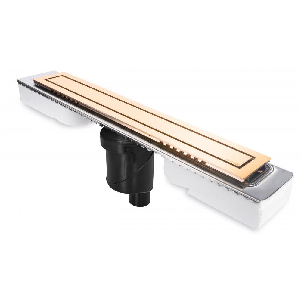 Желоб BERGES водосток TOP Stark 600, золото глянец, S-сифон D50/105 H50 вертикальный