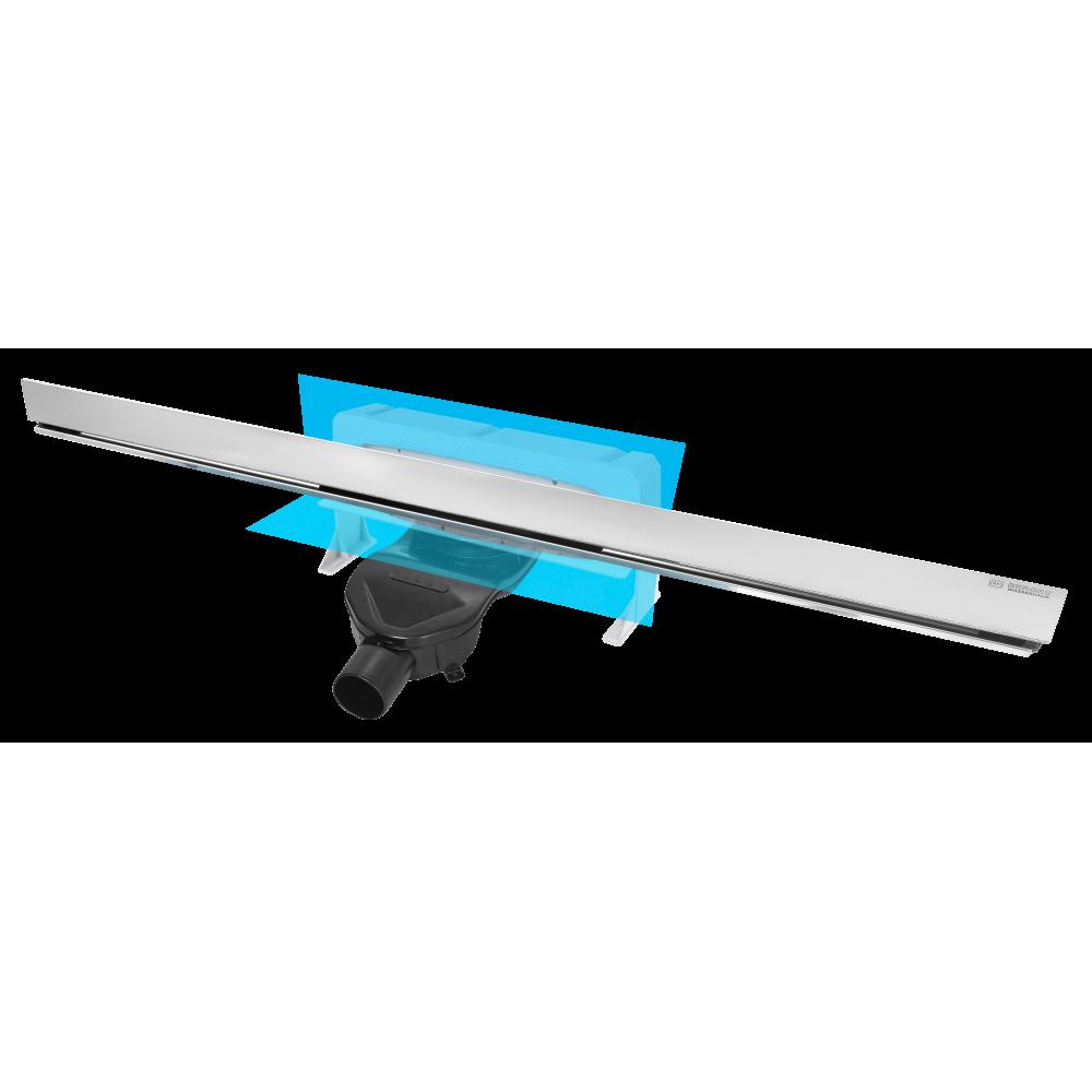 Желоб BERGES водосток WALL 1000 пристенный, матовый хром, S-сифон D50 H60 боковой