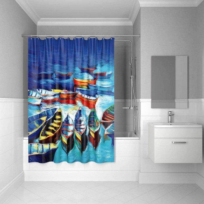 Штора для ванной комнаты IDDIS Boats 180*200 см полиэстер