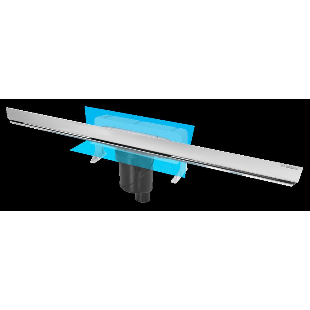 Желоб BERGES водосток WALL 1000 пристенный, матовый хром, S-сифон D50/105 H50 вертикальный