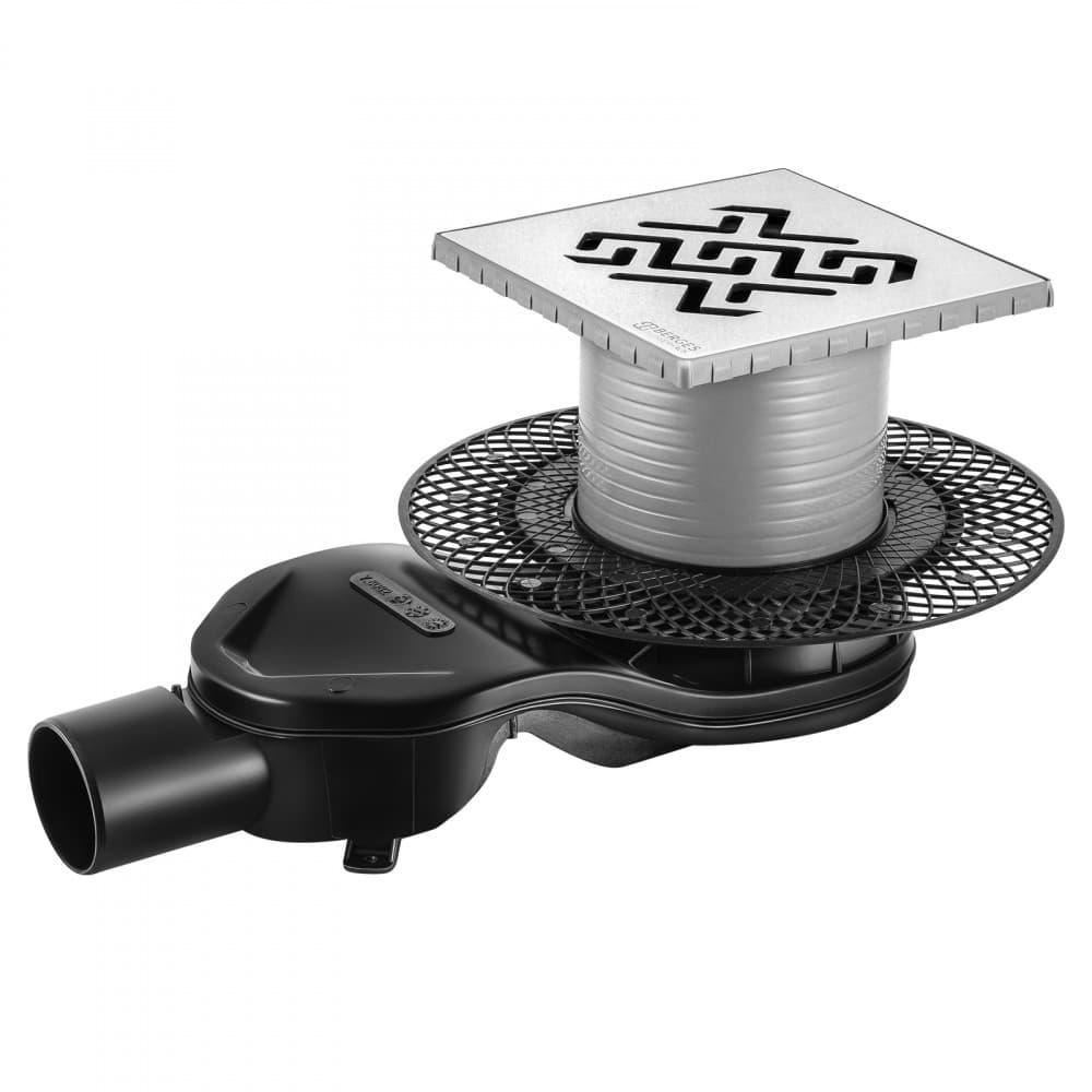 Трап BERGES водосток PLATZ Antik 150х150, матовый хром, S-сифон D50 H60 боковой