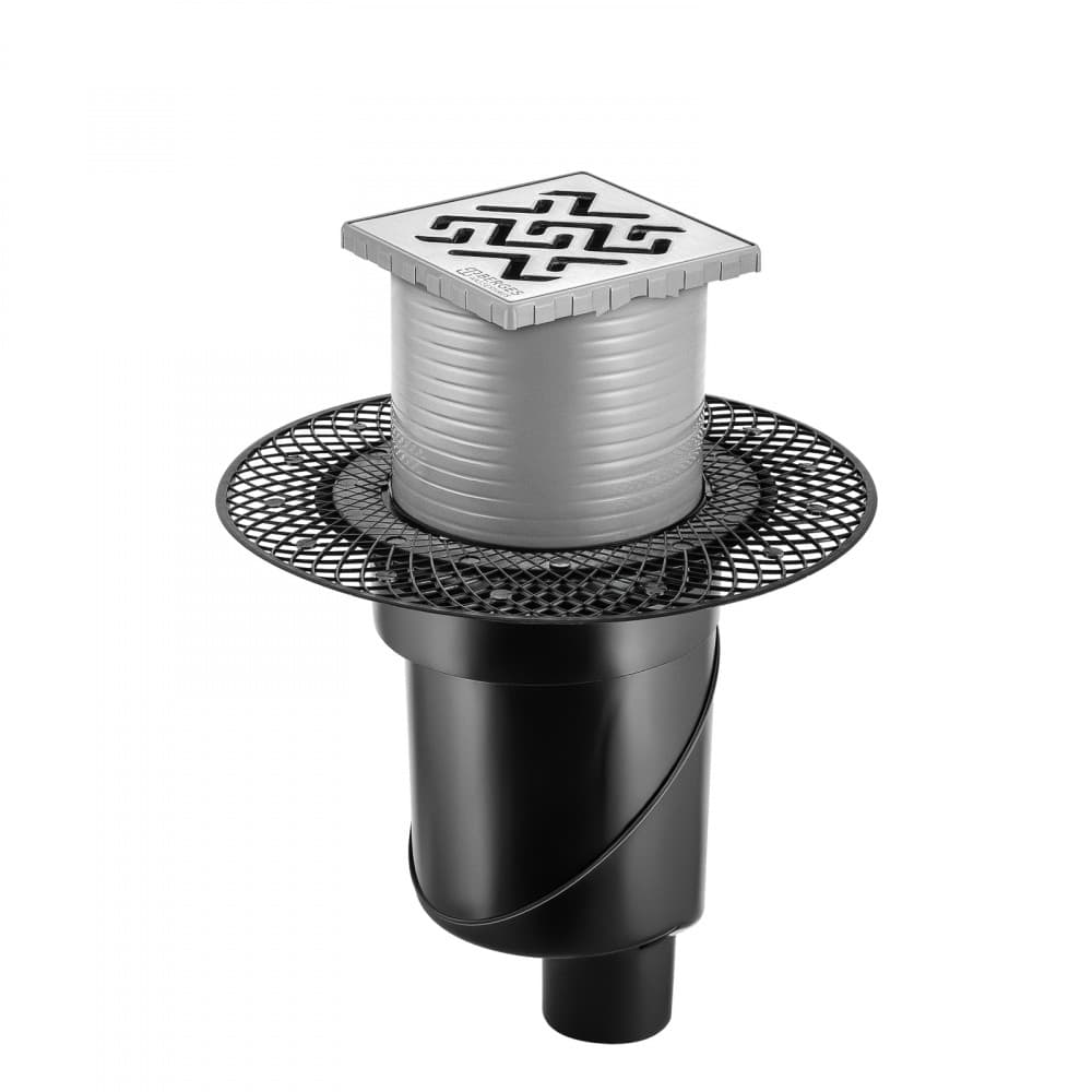 Трап BERGES водосток PLATZ Antik 100х100, матовый хром, S-сифон D50/105 H50 вертикальный