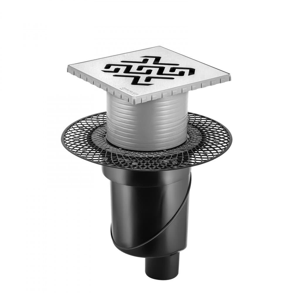 Трап BERGES водосток PLATZ Antik 150х150, матовый хром, S-сифон D50/105 H50 вертикальный