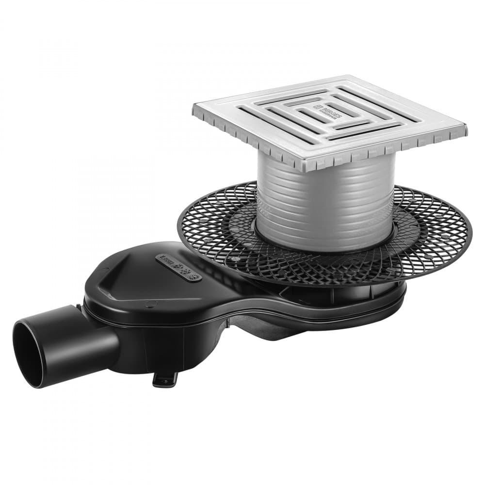 Трап BERGES водосток PLATZ Uno 150х150, матовый хром, S-сифон D50 H60 боковой