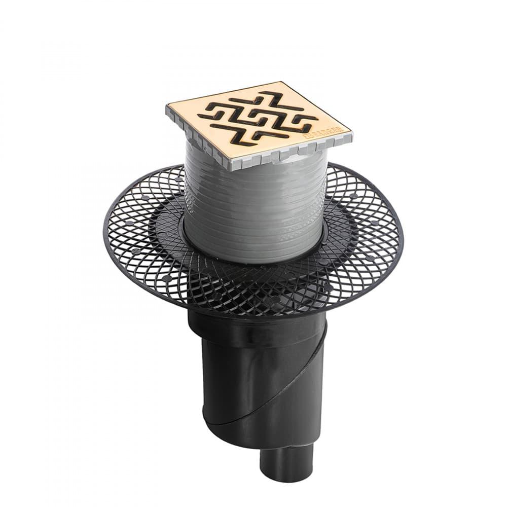 Трап BERGES водосток PLATZ Antik 100х100, золото глянец, S-сифон D50/105 H50 вертикальный
