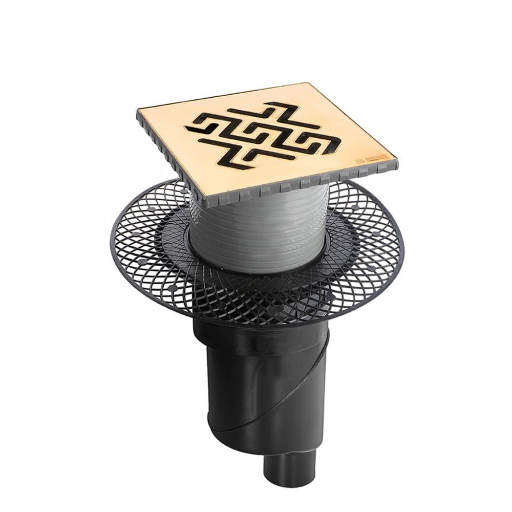 Трап BERGES водосток PLATZ Antik 150х150, золото глянец, S-сифон D50/105 H50 вертикальный