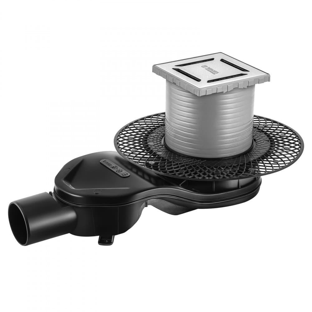 Трап BERGES водосток PLATZ Norma 100х100, хром глянец, S-сифон D50 H60 боковой