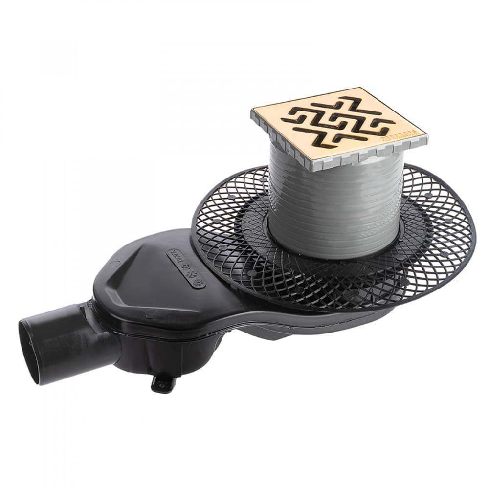 Трап BERGES водосток PLATZ Antik 100х100, бронза, S-сифон D50 H60 боковой