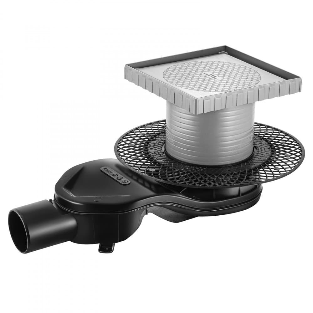 Трап BERGES водосток напольный PLATZ Keramik 150х150 под плитку, без обрамления, S-сифон D50 H60 боковой