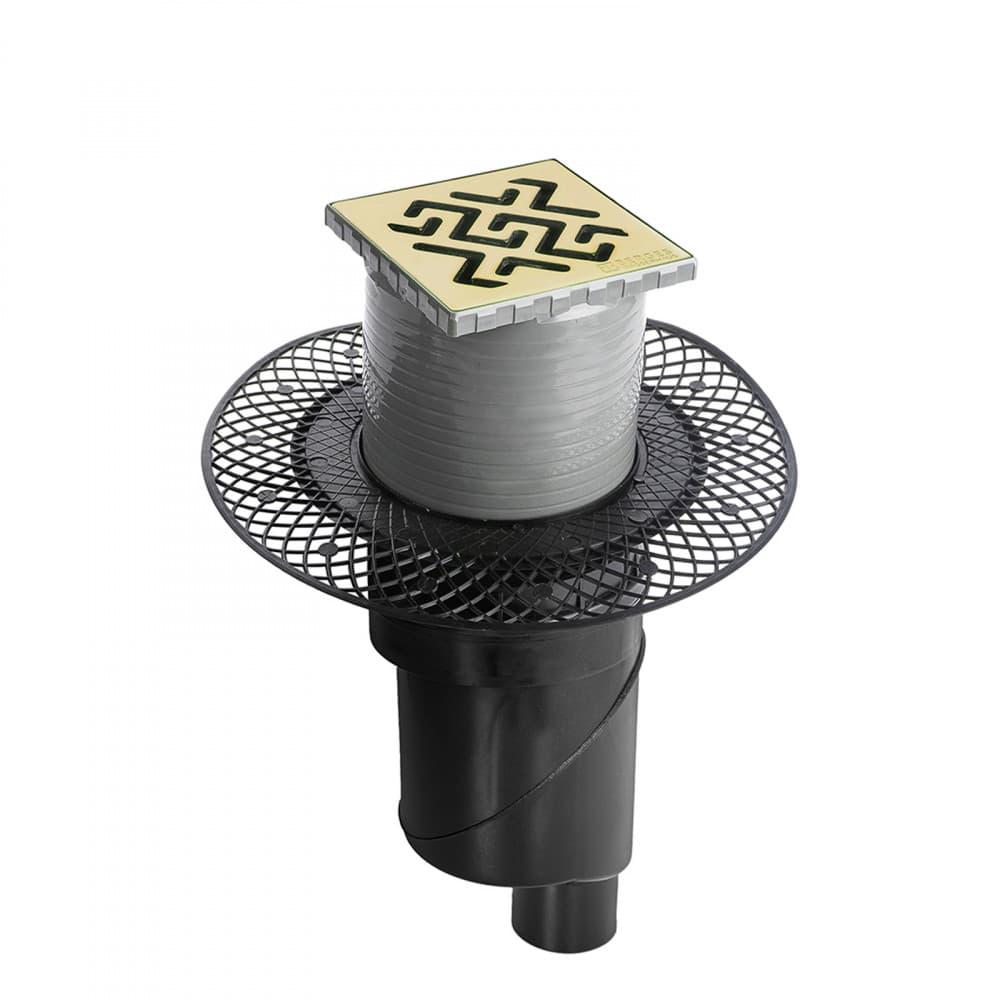 Трап BERGES водосток PLATZ Antik 100х100, бронза, S-сифон D50/105 H50 вертикальный