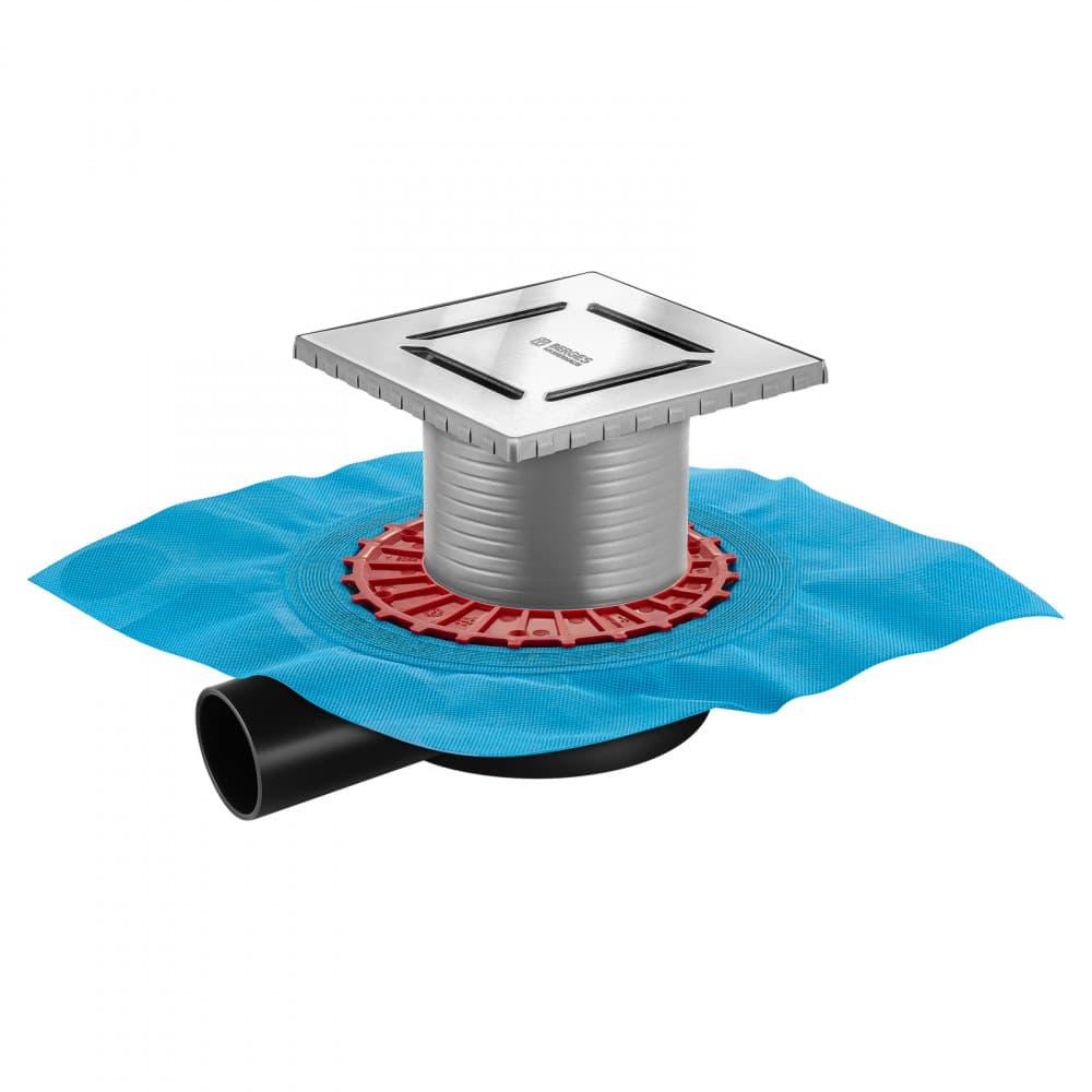 Трап BERGES водосток ZENTRUM Norma 150х150, матовый хром, выпуск D50 H65 боковой