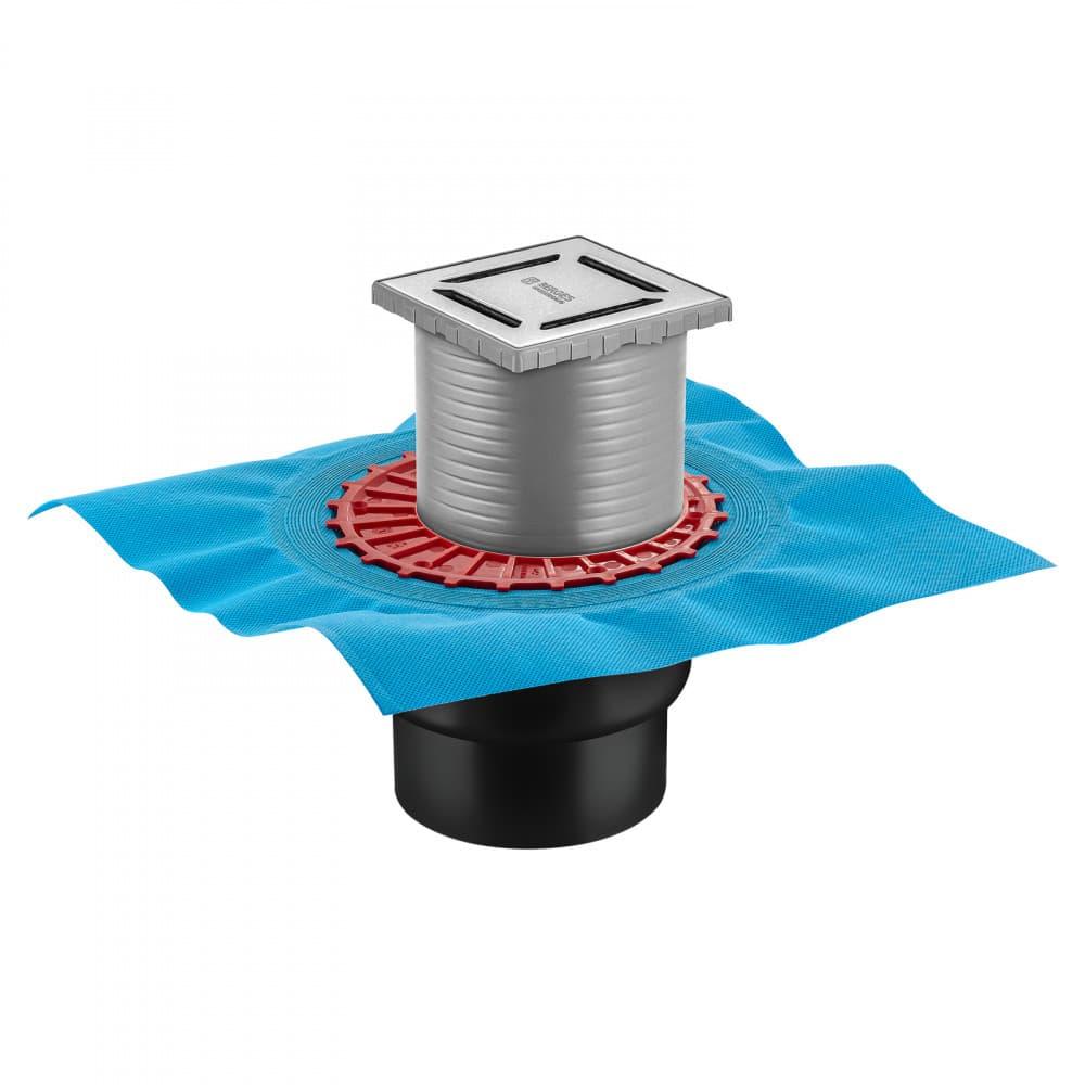 Трап BERGES водосток ZENTRUM Norma 100х100, хром глянец, выпуск D50/75/110 H74 вертикальный