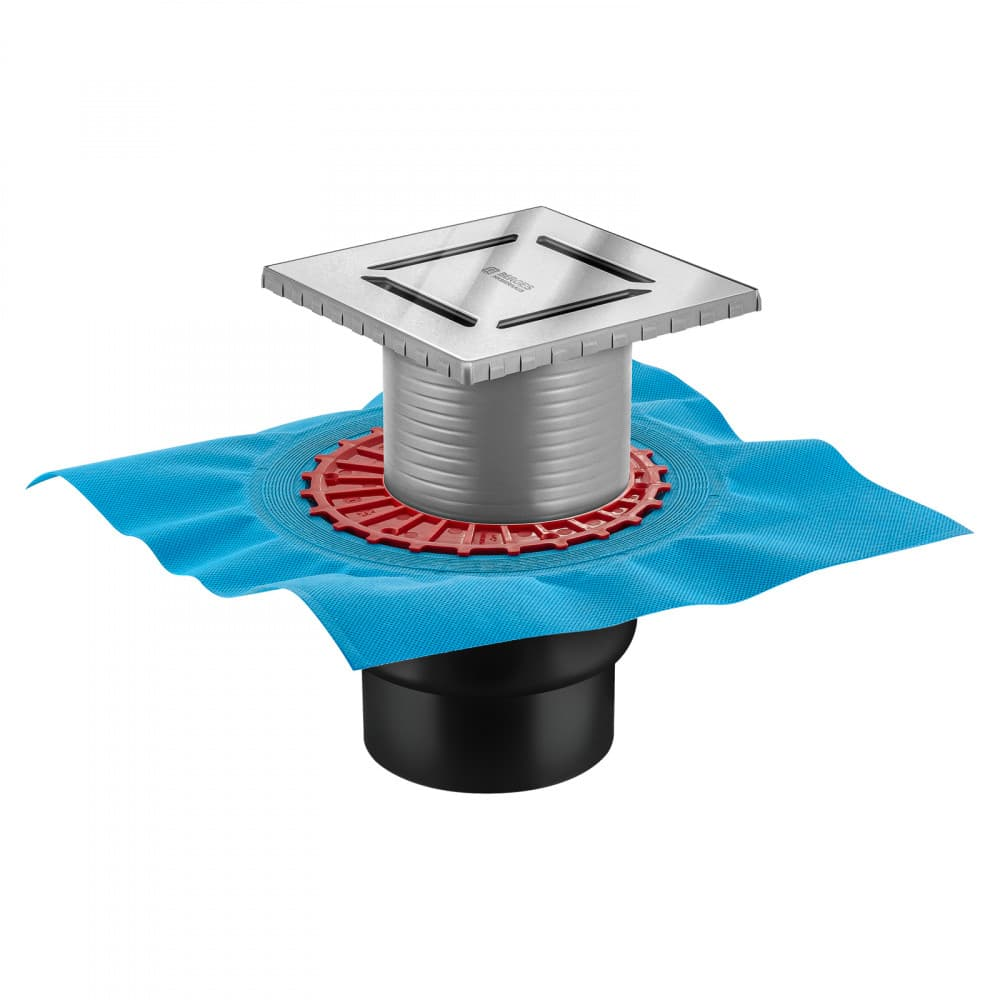 Трап BERGES водосток ZENTRUM Norma 150х150, хром глянец, выпуск D50/75/110 H74 вертикальный