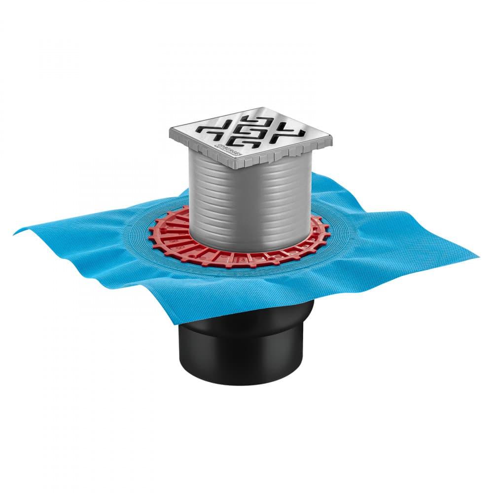 Трап BERGES водосток ZENTRUM Antik 100х100, хром глянец, выпуск D50/75/110 H74 вертикальный