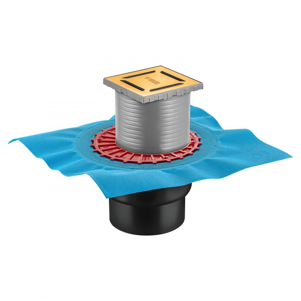 Трап BERGES водосток ZENTRUM Norma 100х100, золото глянец, выпуск D50/75/110 H74 вертикальный