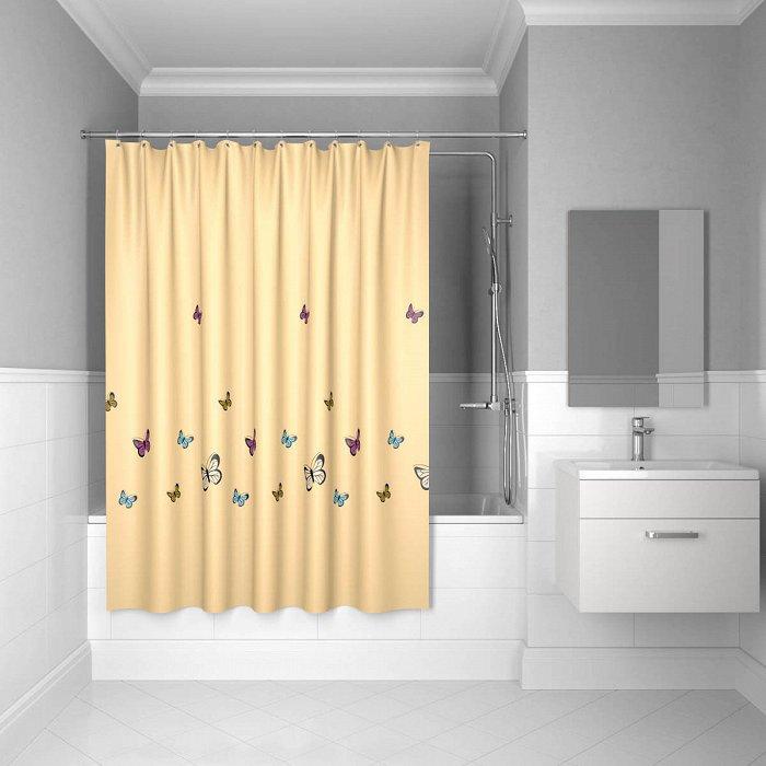 Штора для ванной комнаты IDDIS Butterfly 200*200 см yellow butterfly