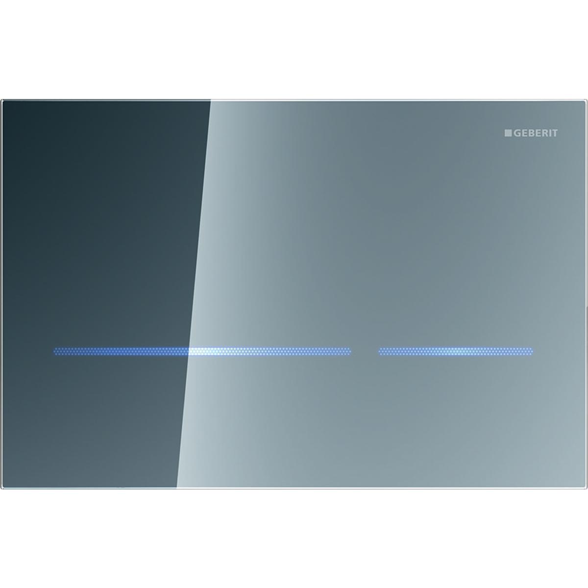 Система электронного управления смывом унитаза Geberit, питание от сети, двойной смыв, смывная клавиша Sigma80, бесконтактный смыв: Зеркальный