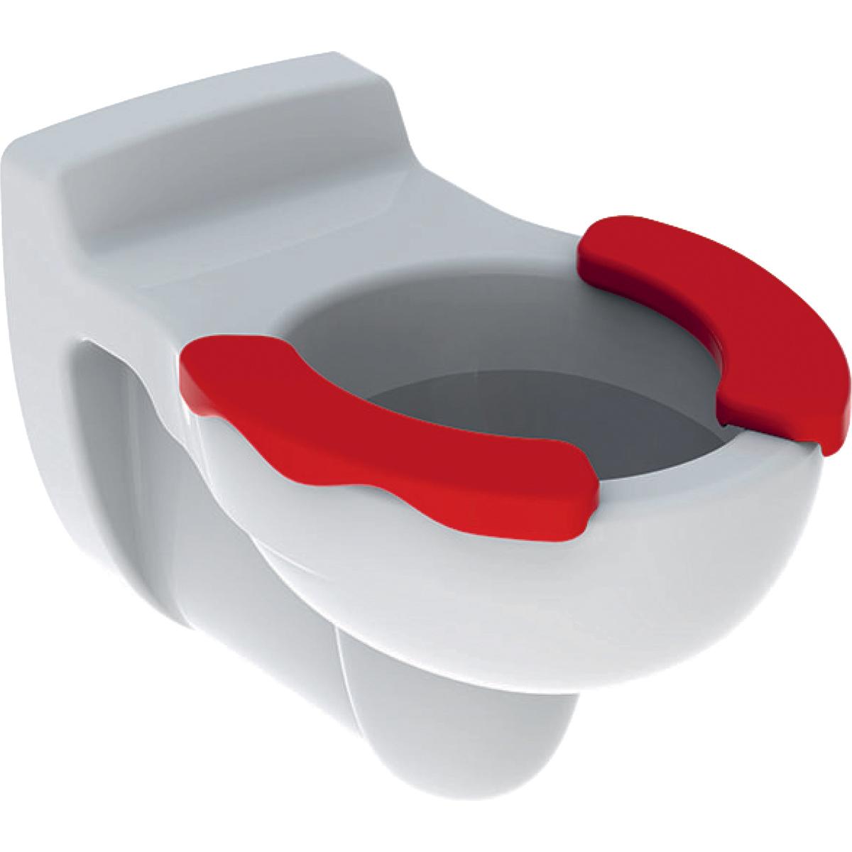Geberit Bambini Унитаз подвесной для детей 6л, горизонтальный выпуск, накладка для сиденья красная