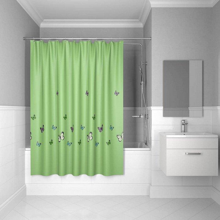 Штора для ванной комнаты IDDIS Butterfly 200*200 см green butterfly