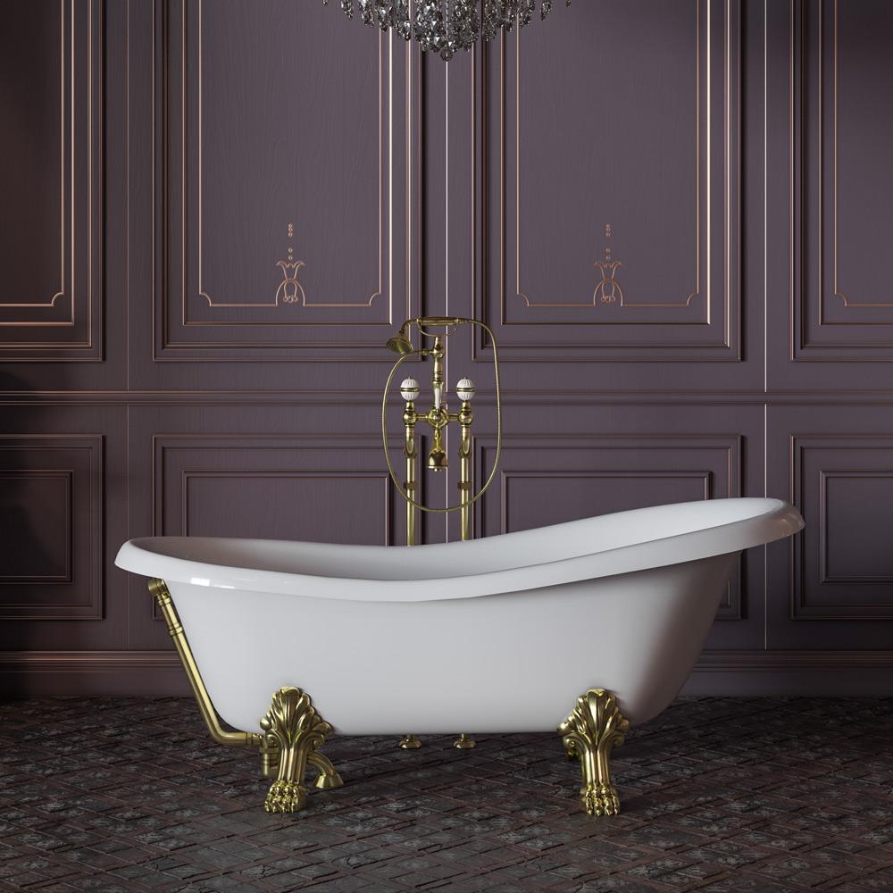 """MILADY Ванна 185x82xH75 см. на лапах """"LEONE"""" STANDART, белая, слив/перелив золото"""