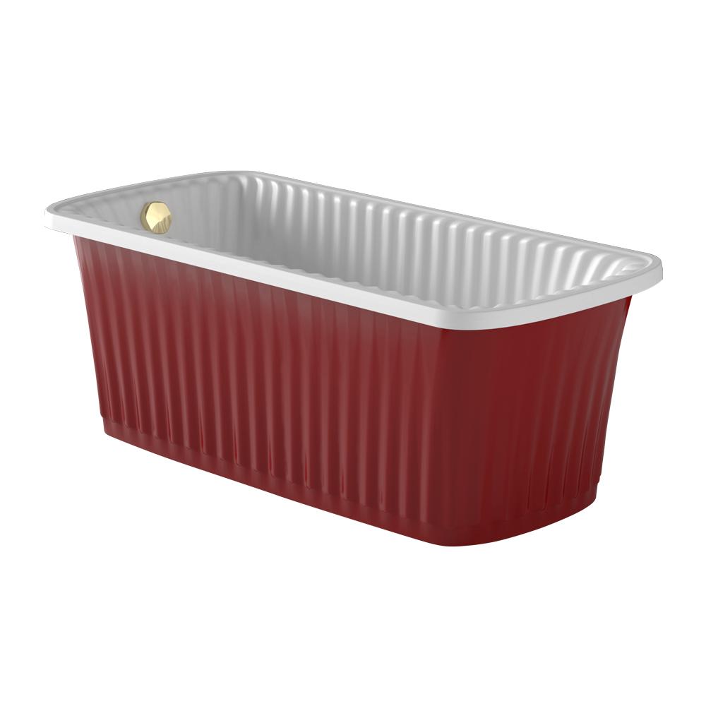 OLIVIA PANELLO Ванна 174x83хH66 см. белая, панель красная, слив/перелив золото