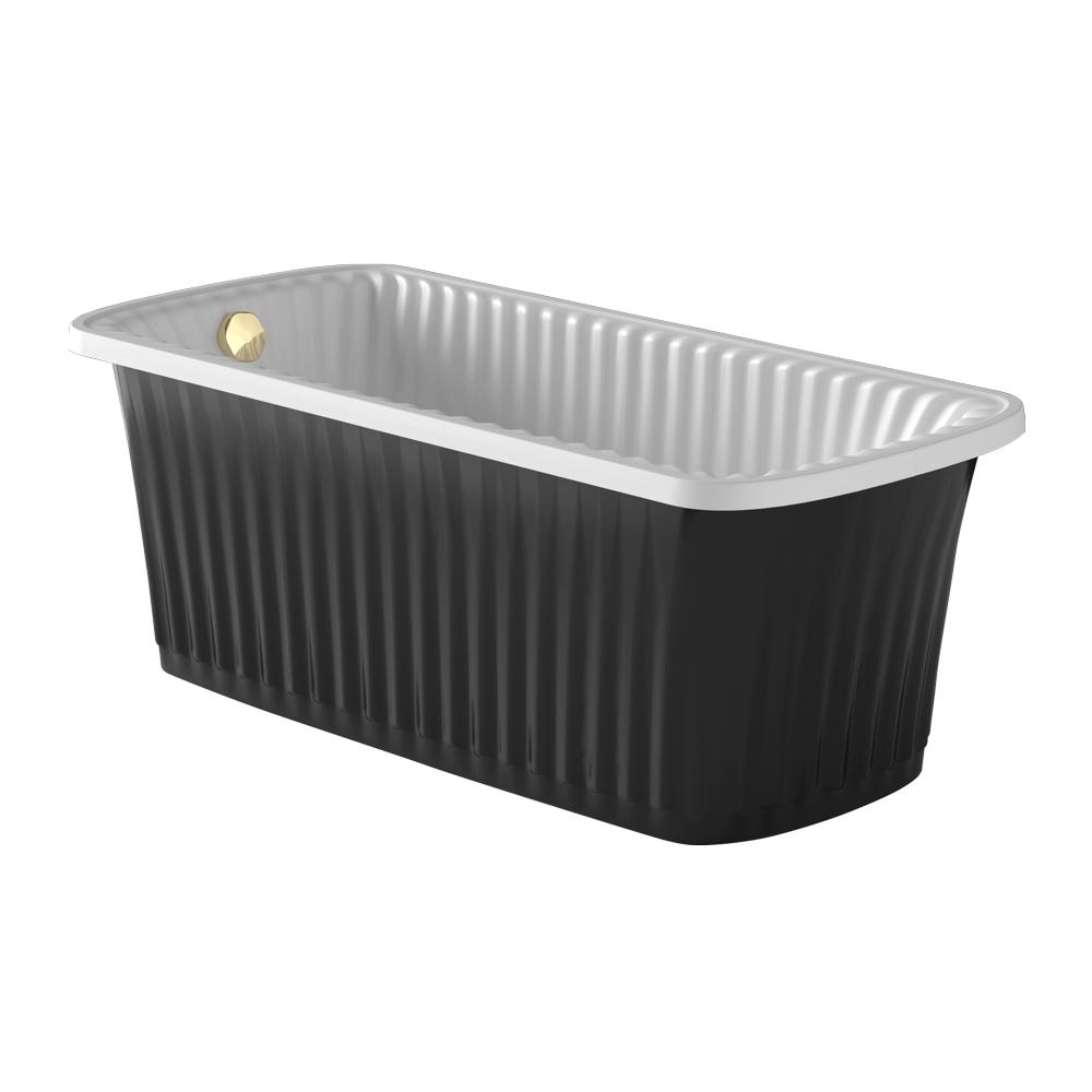 OLIVIA PANELLO Ванна 174x83хH66 см. белая, панель черная, слив/перелив золото