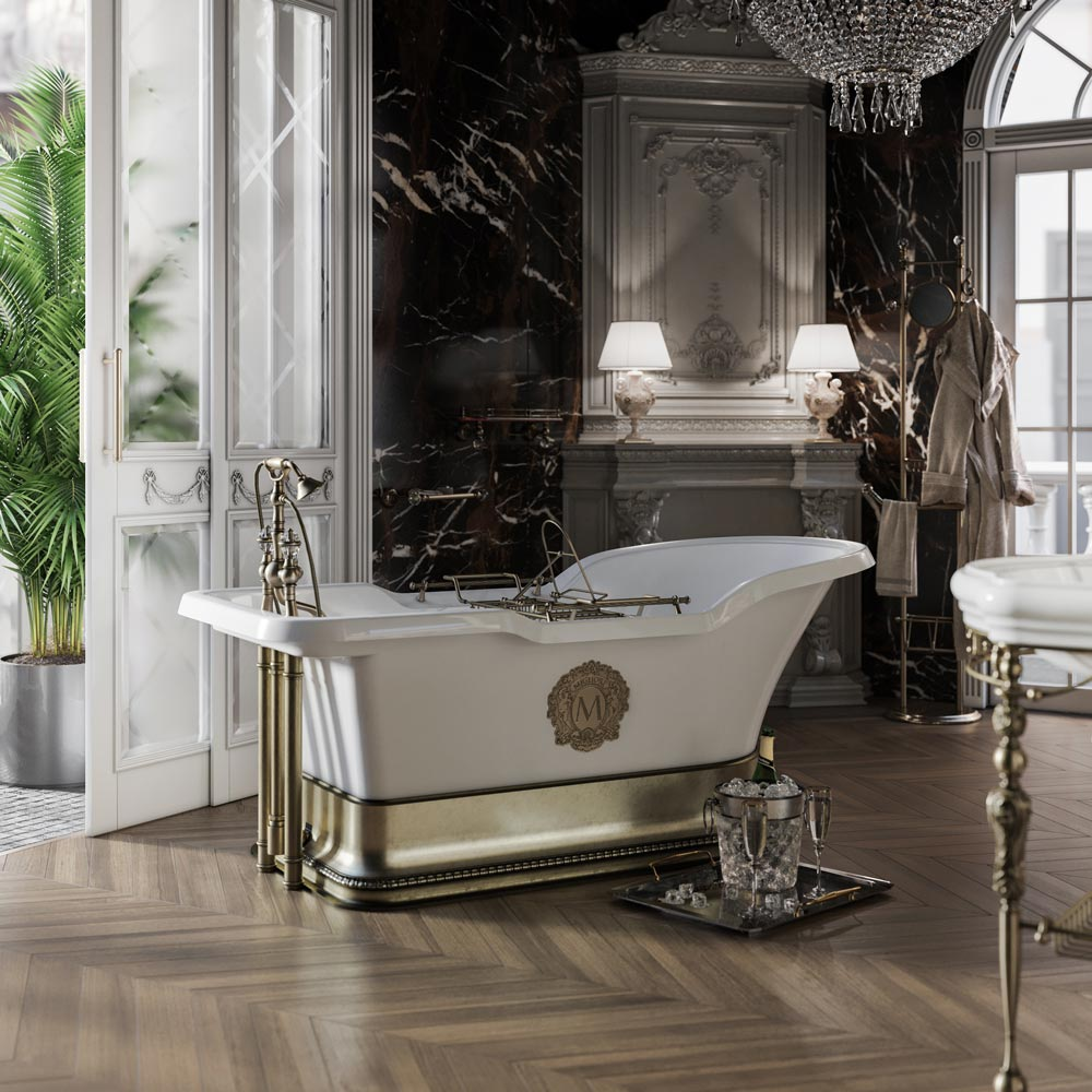 "IMPERO PODIUM Ванна 180x87хH76 см. бел, подиум бронза, слив/перелив бронза+ 2 дек."" MIGLIORE"""
