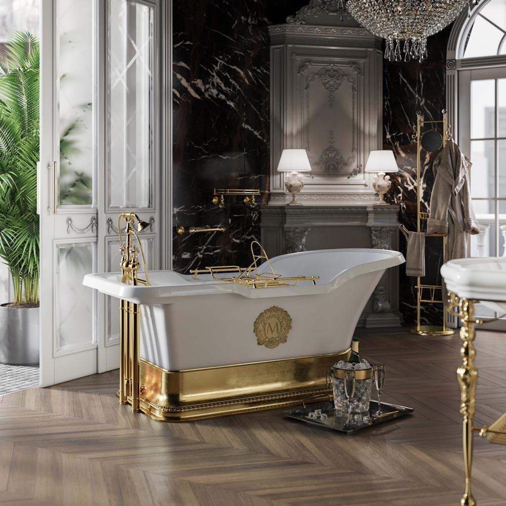 "IMPERO PODIUM Ванна 180x87хH76 см. бел, подиум золото, слив/перелив золото+ 2 дек."" MIGLIORE"""