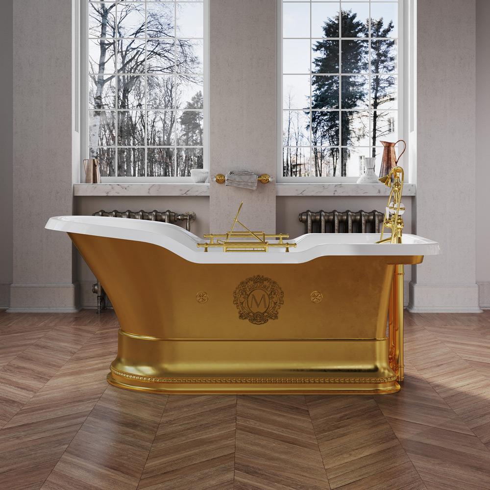 "IMPERO PODIUM Ванна 180x87хH76 см. золото, подиум золото, слив/перелив золото+ 2 дек."" MIGLIORE"""