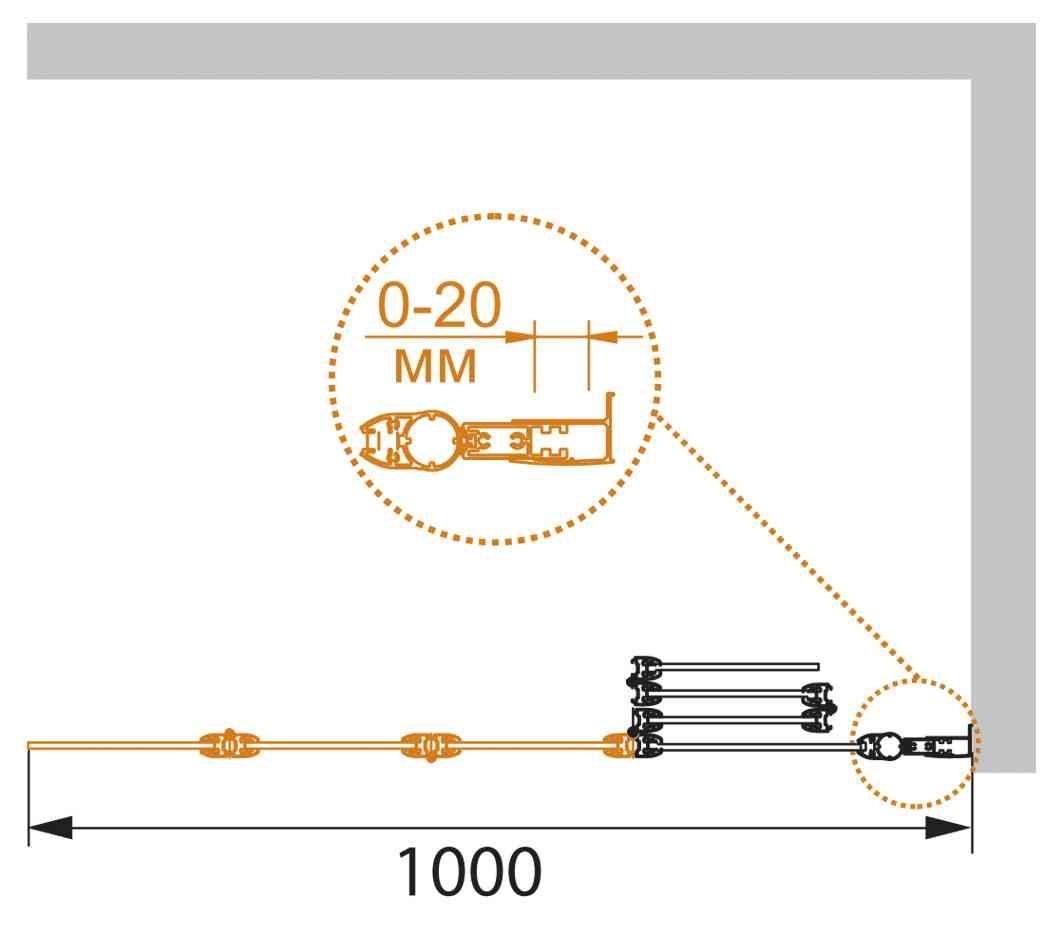 Шторка на ванну CEZARES PRATICO-V-4-100/140-P-Cr-R