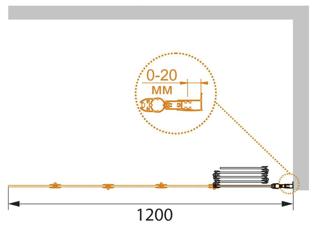 Шторка на ванну CEZARES PRATICO-V-5-120/140-P-Cr-R