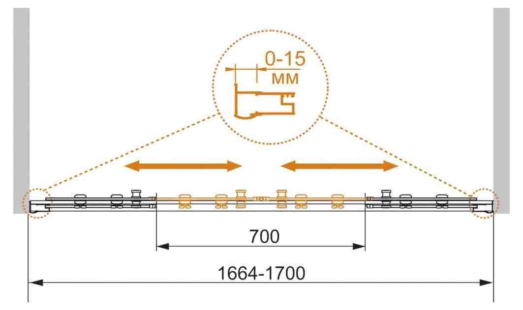 Шторка на ванну CEZARES PRATICO-VF-2-170/140-P-Cr